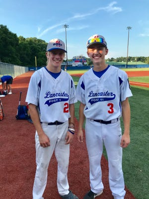 Nathan Pechar and Zane George have played pivotal roles for the Post 11 baseball team this season and are working hard in hopes of having expanded roles for the Lancaster baseball team next year.