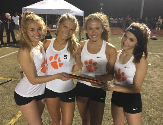 Brighton's 1,600-meter relay team consisted of (from left) Kennedy Smith, Bryce Calka, Julianne Libler and Morgan Waggoner.