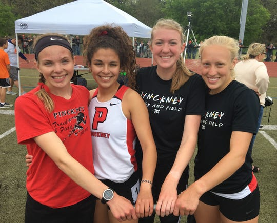 Pinckney's 3,200-meter relay team of (from left) Noelle Adriaens, Mia Garcia, Erika Rapp and Molly Bolang finished sixth in the state meet.