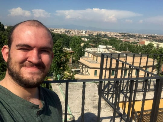 T.C. Gendreau, shown in Rome July 2, 2109, has hearing loss. He missed the gate change announcement for his June 30, 2019 flight to Rome. He wasn't given an alert via email as he expected.
