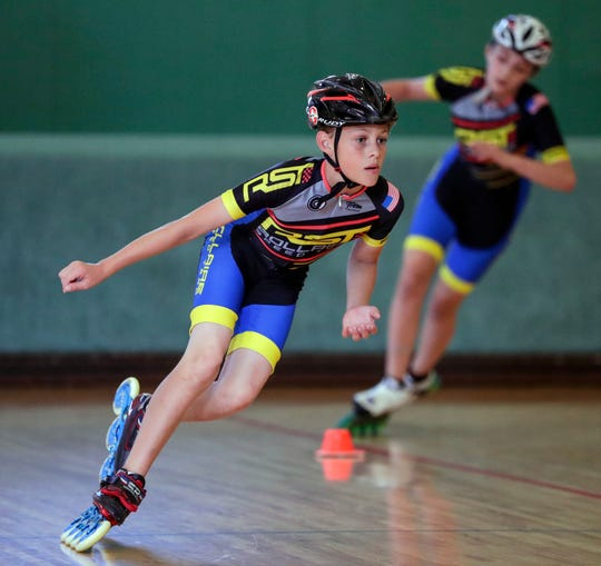 Brenndon Wolf, 11, practices at Rollaire Skate Center in preparation of the upcoming USA Roller National Championships Friday, June 28, 2019, in Manitowoc, Wis. Joshua Clark/USA TODAY NETWORK-Wisconsin