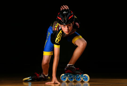 Brenndon Wolf, 11, in his starting stance at Rollaire Skate Center Friday, June 28, 2019, in Manitowoc, Wis. Wolf will compete in his third USA Roller Sports National Championships in Spokane, Wash., for inline speed skating at the end of July. Joshua Clark/USA TODAY NETWORK-Wisconsin
