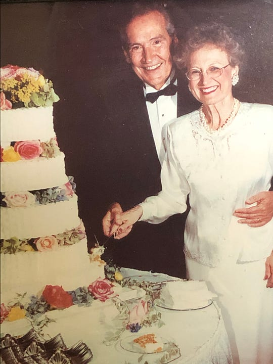 Memphis pastor Adrian Rogers and his wife Joyce pose for a photo while celebrating their 50th wedding anniversary.