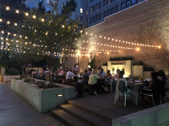 The outdoor patio at Felicia Suzanne's Restaurant in downtown Memphis.