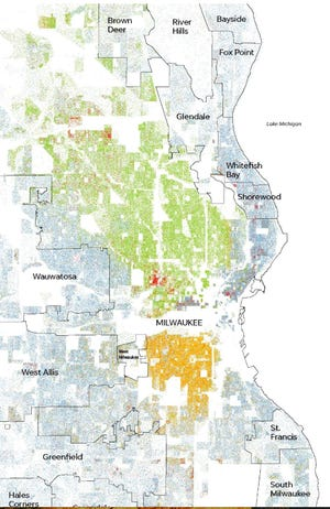 This racial dot map shows segregation in Milwaukee County using information from the University of Virginia's Weldon Cooper Center for Public Service