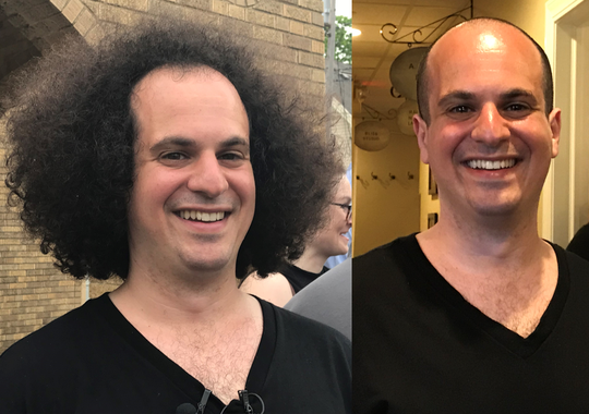 Rep. Jonathan Brostoff is seen before and after his haircut.