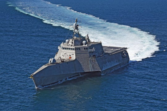 USS Montgomery (LCS 8) transits from Naval Base San Diego to the Pacific Ocean to conduct routine operations and training. Littoral combat ships are high-speed, agile, shallow draft, mission-focused surface combatants designed for operations in the littoral environment, yet fully capable of open ocean operations.