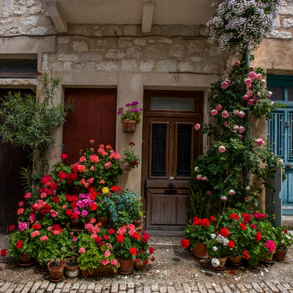 Flowers decorate the town of Monflanquin, France.