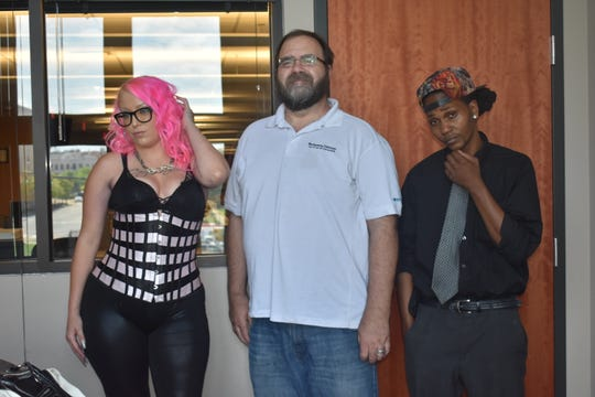 From left, rap artist Amilian, Shannon Heupel of the Montgomery Advertiser, and Theory Formed of Mix Perfect Studios in Prattville.