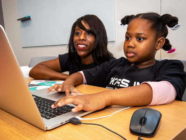 Instructor Angela Nicole Cross and Za'Myah Swader at Okas, Inc. Girls Who Code event held at Technology Engagement Center on Saturday, June 29, 2019.