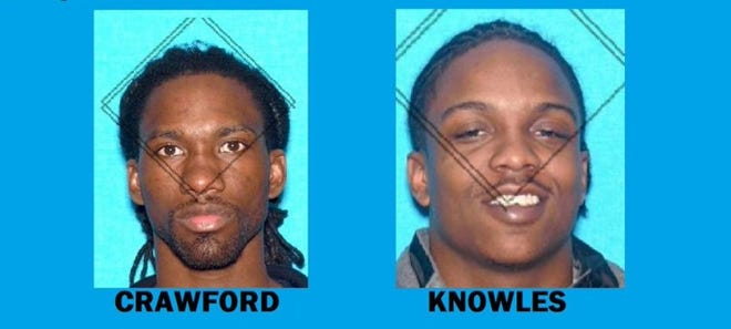 Murfreesboro police are searching for Delarrious Dewayne Crawford and Quandre Knowles in connection to the shooting death of Daicori Saunders