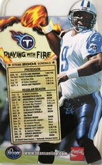 This is the magnet featuring Steve McNair and the Titans schedule that survived the fire at Charlotte Speakman's house.