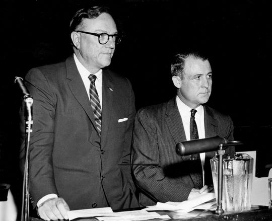 Tennessee Secretary of State Joe Carr, left, seen here in Sept. of 1958, was one of the defendants named in a federal lawsuit related to Tennessee's reapportionment.