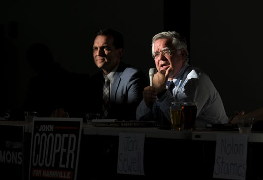 Mayoral candidates John Cooper, right, and John Ray Clemmons attend The Nations Neighborhood Association's mayoral candidate Q&A at Fat Bottom Brewing in Nashville on July 1, 2019.