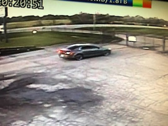 According to the Licking County Sheriff's Office, the suspect in an April Reynoldsburg business break-in was seen driving a car described as a gray, four-door Acura MDX with tinted windows.