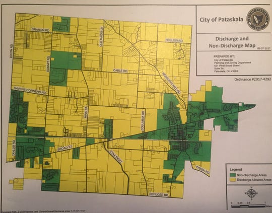 The current gun discharge map for the City of Pataskala. Areas in yellow are permissible for firing guns. Those in green are not.