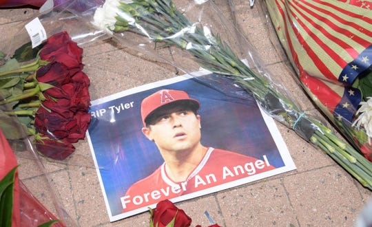 Jul 2, 2019; Anaheim, CA, USA; A memorial for Los Angeles Angels pitcher Tyler Skaggs at Angel Stadium of Anaheim. Skaggs, 27, died at a hotel in Southlake, Texas, July 1, 2019, where he was found unresponsive prior to a game against the Texas Rangers.