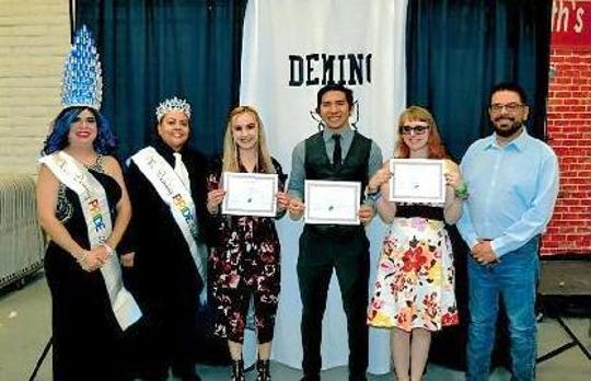 Deming Pride during Deming High's Scholarship and Awards Night in May. Pictured from left are Miss Deming Pride 2019, Canela D'Angelo Steele, Mr. Deming Pride Alyx D'Angelo Steele, scholarship recipients Amber Peacock, Jorge Mesta and Christina Caddo and Deming Pride President Manny Carlos.