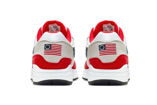 This undated product image obtained by the Associated Press shows Nike Air Max 1 Quick Strike Fourth of July shoes that have a U.S. flag with 13 white stars in a circle on it, known as the Betsy Ross flag, on them. Nike is pulling the flag-themed tennis shoe after former NFL quarterback Colin Kaepernick complained to the shoemaker, according to the Wall Street Journal.