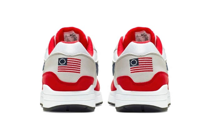An Associated Press image shows Nike Air Max 1 Quick Strike Fourth of July shoes that bear the Betsy Ross flag. Nike pulled the flag-themed tennis shoe after former NFL quarterback Colin Kaepernick, who endorses Nike products, told the company the shoes were offensive because the flag has been used as a white nationalism symbol by some extremist groups.