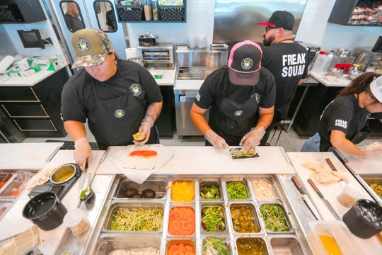 Las Cruces' newest sushi shop, Sushi Freak, serves customers on their opening week on Telshor Boulevard near Roadrunner Parkway on Tuesday, July 2, 2019.