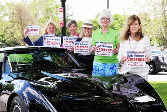 "Pictured with a ""like new"" 1981 Chevy Corvette are (from left) DAR Piety Hill Regent Lisa Milton, Holly Heiss, Ruby Weidner, Nancy Reed and 'Vette owner Janet Ashley."
