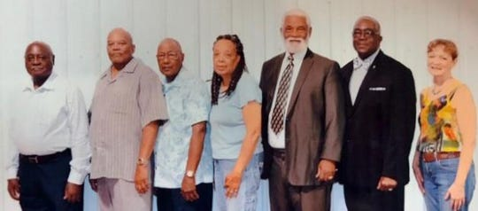 The NAACP in St. Landry Parish recently elected its newest officers.They are, from left to right: Frank Ford, parish branch president; Charles Ned, first vice-president, Raymond Duplechain, second vice-president, Hazel Sias, secretary; Clement Simien, treasurer; Alfred Dupree, Jr. parliamentarian; Agnes Courville, committee chairman. Assistant treasurer Elsie Semien is not pictured.