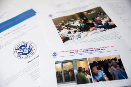 "A report from government auditors reveals images of people penned into overcrowded Border Patrol facilities, including one man pressing a cardboard sign to a cell window with the word ""help."" is photographed at the Associated Press Bureau, Tuesday, July 2, 2019, in Washington. The report released Tuesday by the Department of Homeland Security's Office of Inspector General warns that facilities in South Texas' Rio Grande Valley face ""serious overcrowding"" and require ""immediate attention."" (AP Photo/Andrew Harnik)"