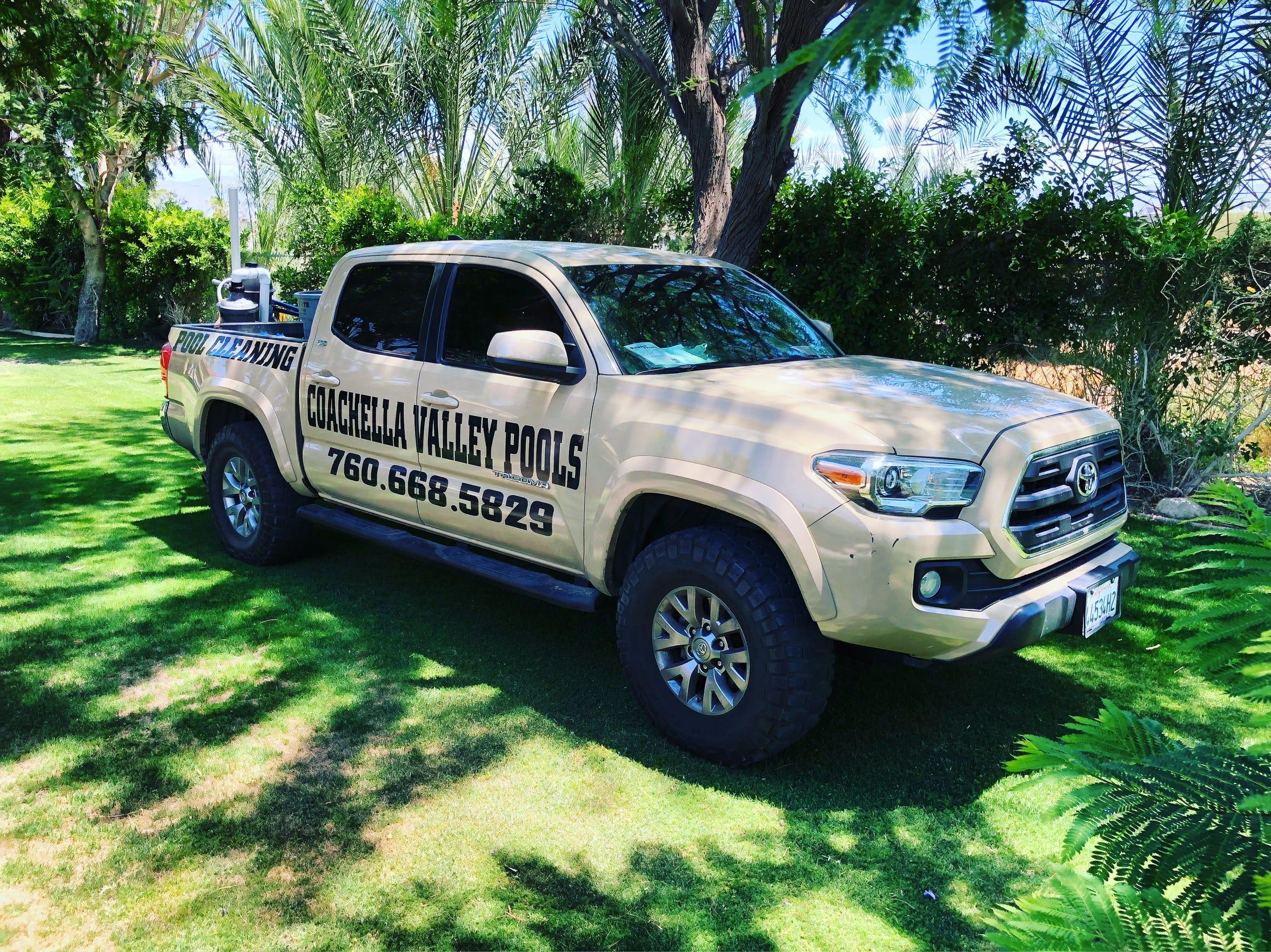 Pedro Paloalto's pickup truck for his business, Coachella Valley Pools.