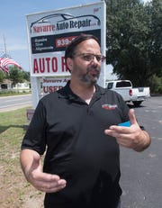 Will Goulet, owner of Navarre Auto Repair and Navarre Auto Sales, talks Tuesday about a lengthy project to widen 20 miles of State Road 87.