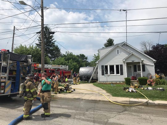 Crews on the scene of a house fire in the first block of James Avenue in Littlestown on Tuesday, July 2, 2019.