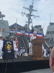 Cindy McCain speaks during a ceremony Tuesday in Japan marking the 25th year of commissioned service for the USS John S. McCain