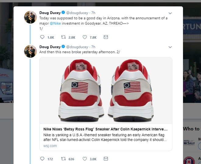 """Arizona Gov. Doug Ducey took to Twitter to express his thoughts about Nike's decision to pull a show with a """"Betsy Ross flag"""" on them."""