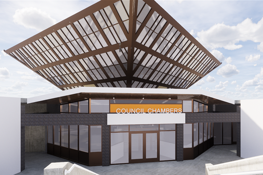 A rendering of the new Tempe City Council chambers entrance.