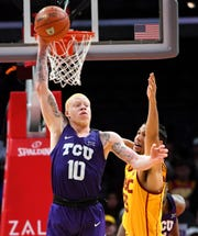Dec 7, 2018; Los Angeles, CA, USA; TCU Horned Frogs guard Jaylen Fisher (10) steals a pass intended for USC Trojans forward Bennie Boatwright (25) and throws it down court in the second half of the game at Staples Center. Mandatory Credit: Jayne Kamin-Oncea-USA TODAY Sports