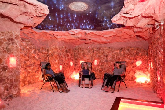 Visitors relax in the Himalayan salt cave at the Hudson Valley Healing Center in Poughkeepsie.