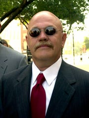 Chauncey Gladfelter is shown arriving at York County Courthouse in York, Pa. Monday, June 25, 2001, for a preliminary hearing on murder charges in the 1969 shooting death of a black woman during 10 days of race riots in York. Gladfelter is one of nine white defendants, including York Mayor Charlie Robertson, accused in the death of Lillie Belle Allen of Aiken, S.C.  (AP Photo/Paul Vathis)