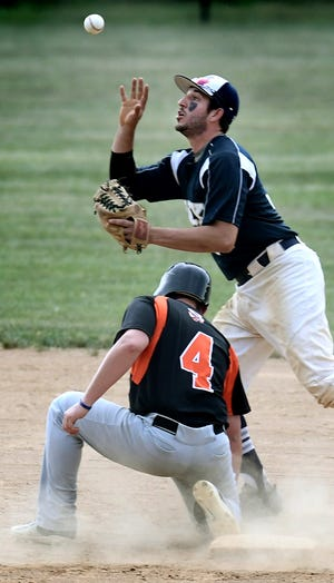 Glen Rock's Trevor Walzl grabs the throw after it hit Stoverstown runner Nick Spangler in a pick-off attempt at second during Central League action at Glen Rock Tuesday, July 2, 2019. Bill Kalina photo