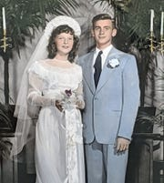 Gloria and Phil Kissinger stand at their wedding in 1949. Phil's name is a bit of a funny story in their family. He was born to Harry Phillip Kissinger and was named Phillip Harry Kissinger. He decided before he went in the military that he wanted to be Harry Phillip Kissinger, which is how all of his military records appear and couldn't be changed when he later wanted to be Phil. He named his son Harry Phillip Kissinger Jr. They call him Phil Jr.