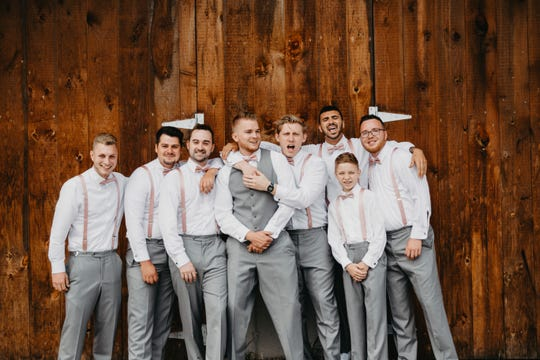 Wedding day at Honeysuckle Ridge in Airville included good friends and family. From left to right are Devin McNutt, Tanner Ierley, Tanner Bogaczyk, Derick Wilt (the groom), Joey Zeller, best man Vince Failla, and Devin Bucks. In front is ring bearer Jaczik Linden.