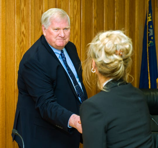 John Garry is congratulated by Interim City Clerk and Administrative Director Sheema Shaw after being sworn in as Yerington's new mayor.