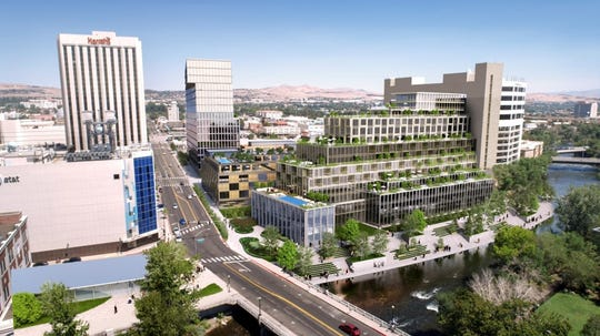 A rendering of the proposed T3 North downtown Reno project by Bay Area-based SVE Development Partners.