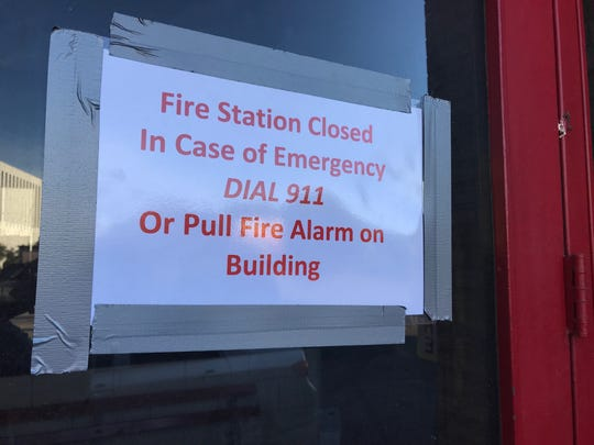 A sign posted on the Rochester Fire Department's Monroe Avenue station on Monday, July 1, 2019.