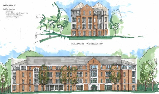 A rendering of the proposed Building 100 to be built on the Colgate Rochester Crozer Divinity School campus released on July 2, 2019, shows the south elevation (bottom) and west elevation (top).