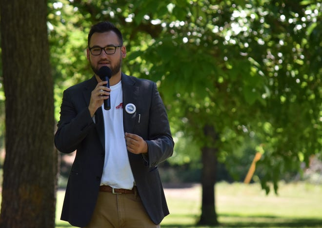State assembly candidate Lane Rickard speaks at a campaign event.