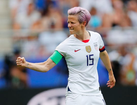 United States forward Megan Rapinoe pumps her fist after scoring on a penalty kick against Spain during a round of 16 match in the Women's World Cup at Stade Auguste-Delaune.