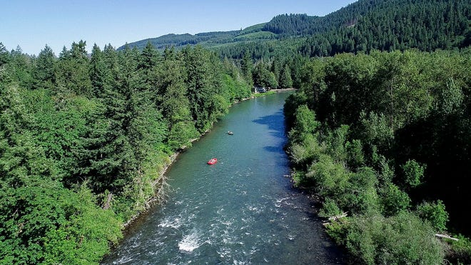 Statesman Journal outdoors writer Zach Urness, in the red boat, floats down the North Santiam River with longtime anglers Mike Ferris and Lee Harrington.