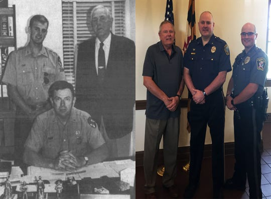 The image on the left was published in a 1991 edition of The Daily Times. It shows Andy McGee, then a Maryland State Police cadet, with his father, Rick McGee and his grandfather, Edwin McGee, both of whom also served state police. The image on the right was taken after Andy McGee (middle) was sworn in as Snow Hill police chief in June 2019. He stands with his father (left), now retired from state police, and his son, Austin McGee (right), who is a Pocomoke City police officer.