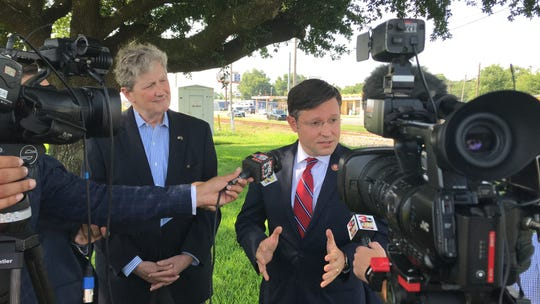 Senator John Kennedy and Congressmen Mike Johnson at a press conference at Barksdale Air Force Base July 2, 2019