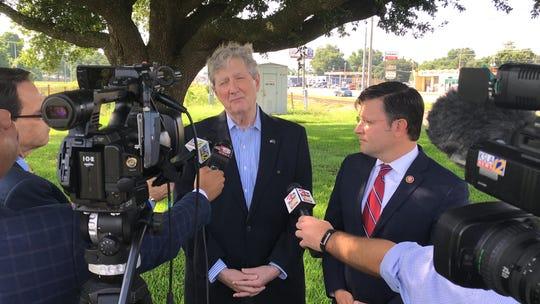 Senator John Kennedy and Congressmen Mike Johnson at Barksdale Airforce Base July 2, 2019